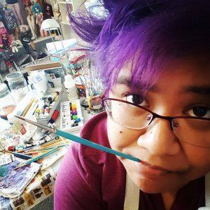 Kat in her home studio circa 2017